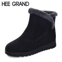 HEE GRAND Flock Winter Warm Faux Fur Snow Fashion Solid Ankle Boots Casual Women Mother Flats