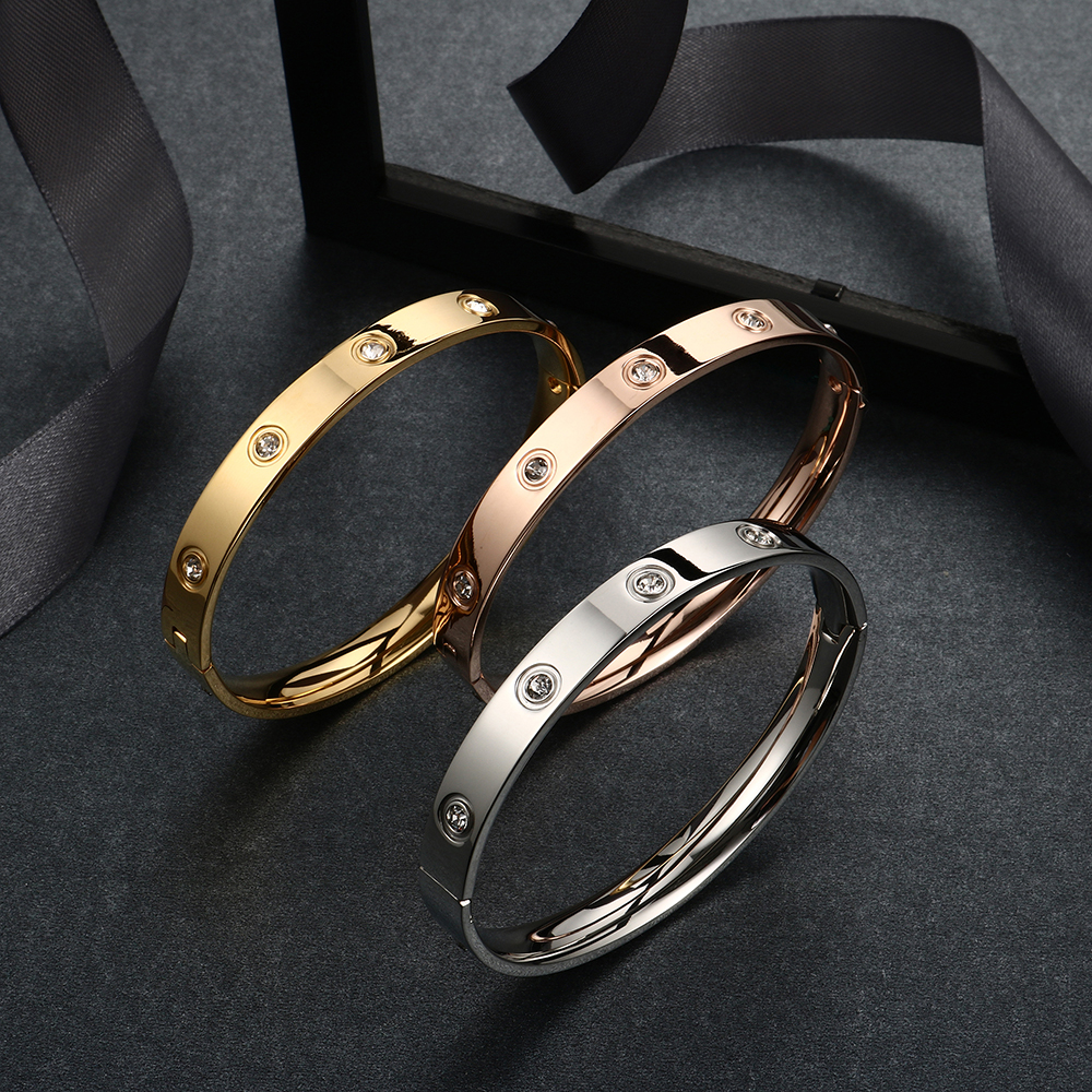 Trendy Rose Gold Love Bracelets Bangles Women Gold Color Stainless Steel Charming CZ Cuff Bracelet Lovers Luxury Brand Jewellery 14