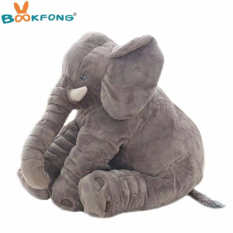 40 cm/60 cm de peluche de elefante muñeca niños dormir amortiguador trasero suave relleno lindo bebé elefante acompañar muñeca regalo de Navidad