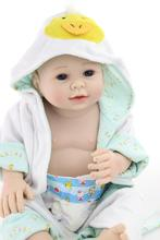 Frete Grátis! 22 polegadas Corpo Cheio de Silicone Realista Boneca Reborn Reborn Menino Vestes Roupas Pode Banho Bebe Vivo Brinquedos Bonecas