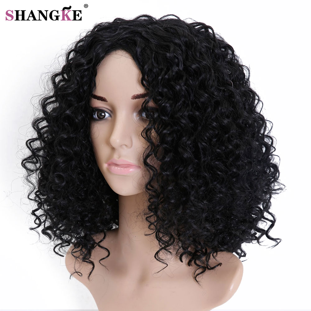 SHANGKE HAIR Afro Kinky Wig Curly Synthetic Wigs For Women Heat Resistant Female Wigs Women Natural Looking African Wigs