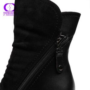 Image 5 - AIMEIGAO 新到着の女性のハイヒールアンクルブーツ女性のブーツダブルジップショートぬいぐるみ平方ヒール黒冬ブーツ