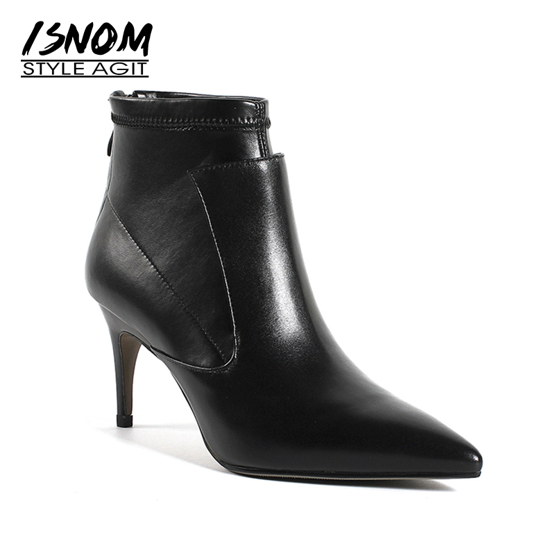 ISNOM Big Size 33-43 Sexy Thin High Heels Women Boots Genuine Leather Bootie Pointed Toe Female Shoes Winter Warm 2018 Footwear free shipping hot sale suede leather women pumps 2018 female sexy pointed toe thin high heels shoes size 35 42 handmade footwear