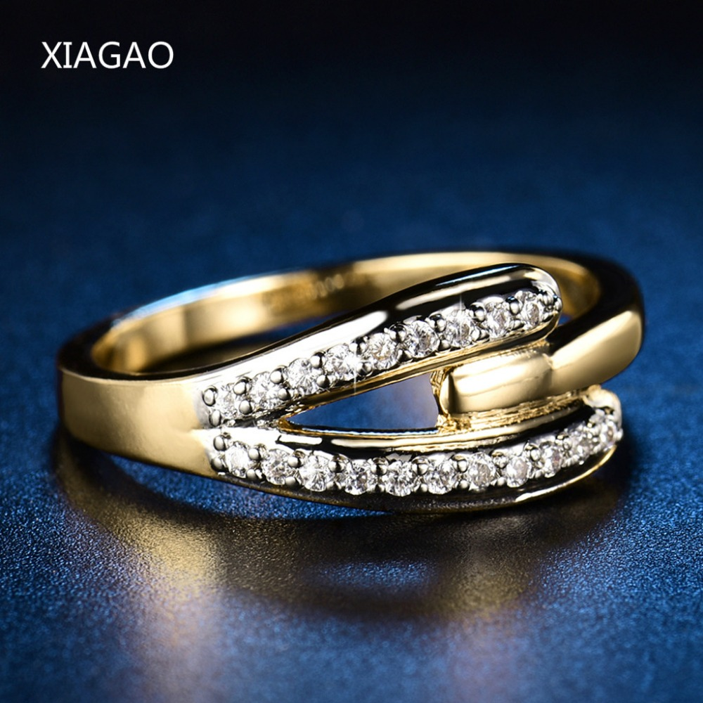 XIAGAO Lxuxury Wedding Engagement Jewelry Rings for Women Gold-Color Noble Rhinestones AAA CZ Finger Ring Famele Gift New ZR574