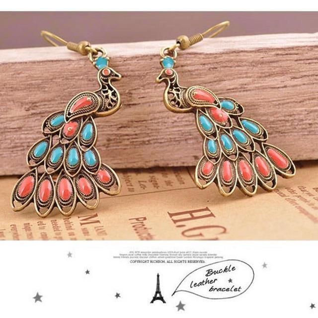 2016 Vintage Colorful Peacock Earrings