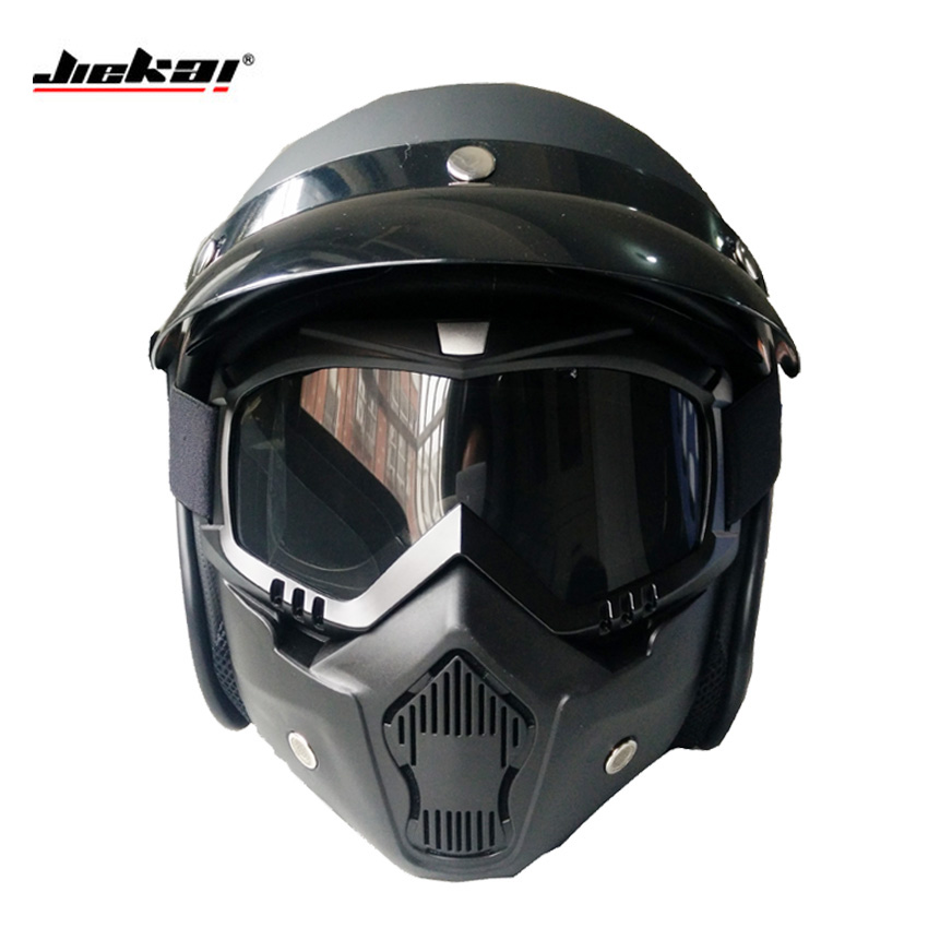 jjiekai motorcycle helmets open face with mask dot retro casque casco de moto jet vintage. Black Bedroom Furniture Sets. Home Design Ideas