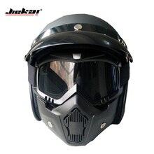 Jjiekai Мотоциклетные шлемы открытым лицом с маской DOT ретро шлем каско де moto реактивный старинные мотоциклетные шлемы capacetes де moto
