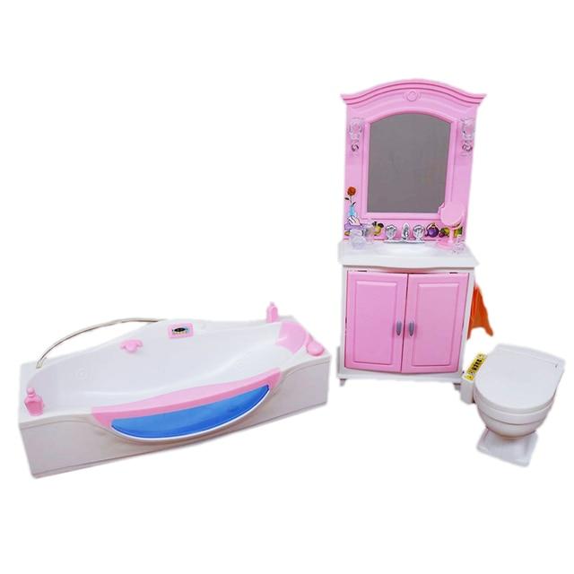 Joli meuble salle de bain jeu ensemble baignoire + commode + toilette Suite cas pour poupée Barbie 1/6 maison meilleur cadeau jouets pour enfants