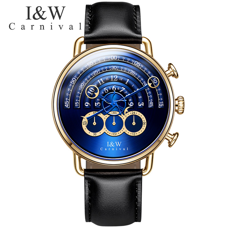 Carnival Sports Quartz Watch Men Waterproof Sapphire Stainless Steel Blue Dial Leather Strap Stop Wristwatch Relogio Masculino цена и фото