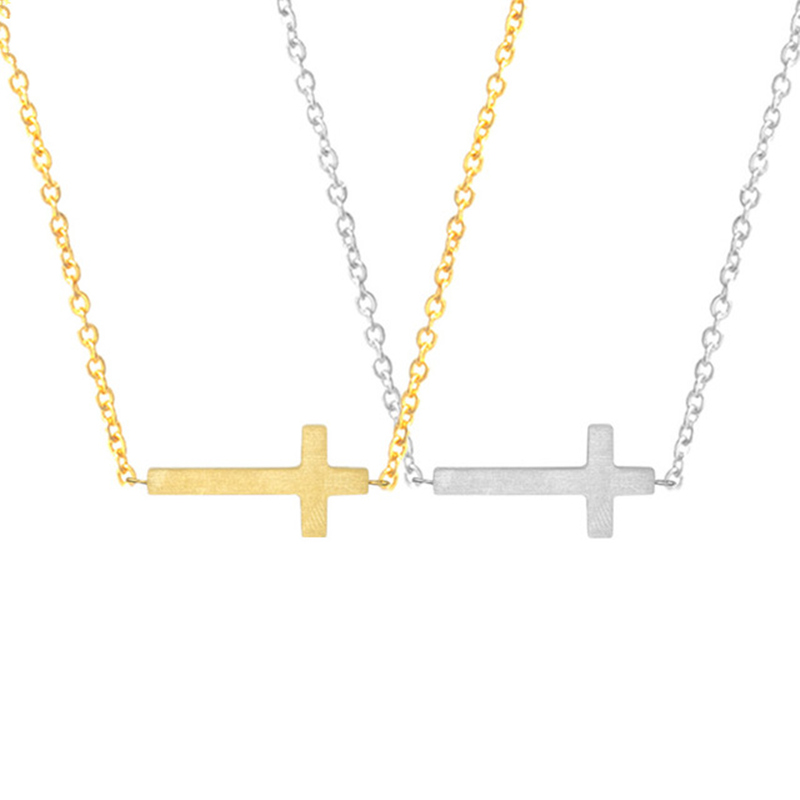 Sideways Cross Necklace Menn Kids Jesus Christian Crucifix Religiøse Smykker Gull Chain Collares Female Best Friends Gift Chokers