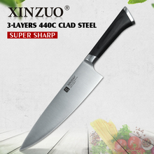 Фотография XINZUO 8 inch chef knife 3 layers 440C clad steel kitchen knives pakka wood handle cleaver knife kitchen tackle slice knife