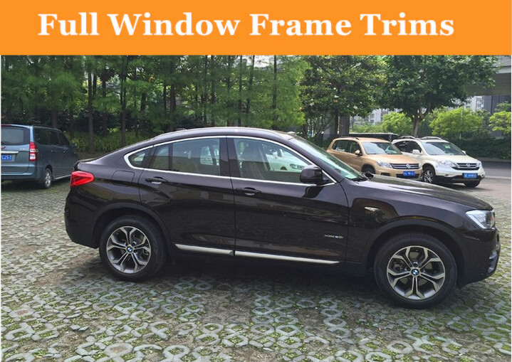 For BMW X4 F26 2014 2015 2016 Full Window Frame Trims (No center pillar window trim) stainless steel full window with center pillar decoration trim car accessories for hyundai ix35 2013 2014 2015 24