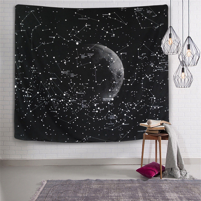 Enipate Psychedelic Constellation Galaxy E Pattern Tapestry Wall Hanging Light Weight Polyester Fabric Decor Home