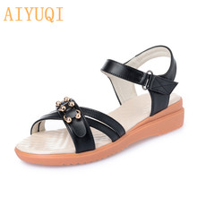 AIYUQI Women sandals flat 2019 new summer shoes for women Casual and comfortable lady size 41 42 43 Mother sandals with open toe elegant comfortable women flat shoes sandals 2017 summer genuine leather pointed toe pearls office solid flats big size 41 42 43