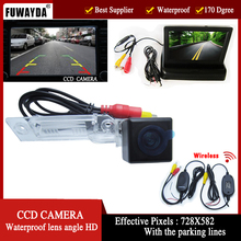 FUWAYDA Wirelelss Car Rear View Camera per VW Golf Passat Touran Caddy Superbo/T5 Transporter/Multivan, 4.3 Pollice Monitor pieghevole