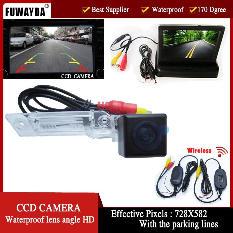 FUWAYDA Wirelelss Car Rear View Camera for VW Golf Passat Touran Caddy Superb/T5 Transporter/Multivan ,4.3 Inch foldable Monitor