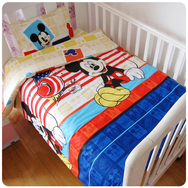 Promotion! 3PCS Mickey Mouse cotton baby cot bedding set for boys girls baby bed set,Duvet Cover/Sheet/Pillow Cover,