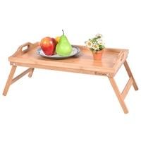 Portable Bamboo Breakfast Bed Tray W/ Handle Fruit Food Cake Coffee Tea Storage Trays Desk Table HW52608