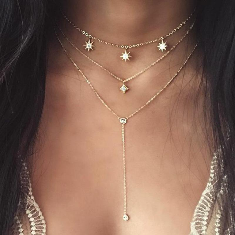 Women Crystal Necklaces & Pendants 3 Multi Layer Necklace Star Tassel Charm Choker Necklace For Women Gold Long Collier Femme