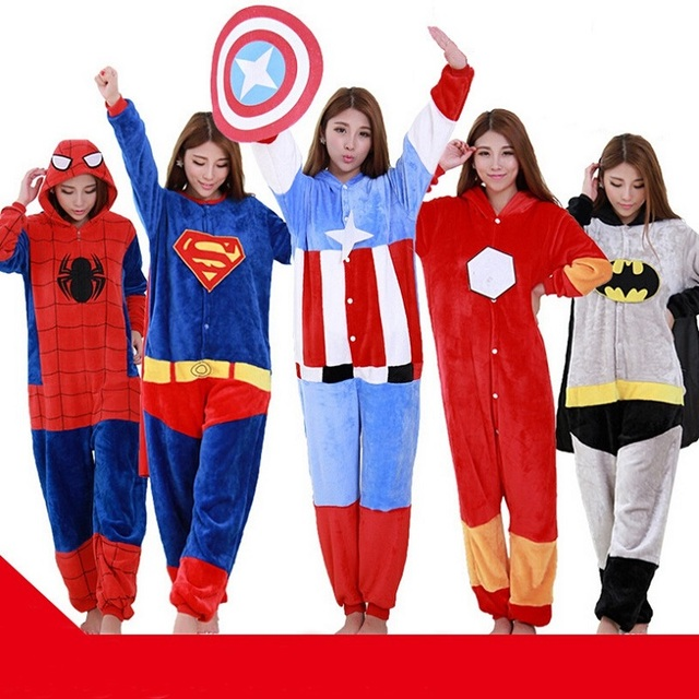 adult movies spider super iron cat captain bat cartoon halloween costumes animal pajamas onesies pajama for