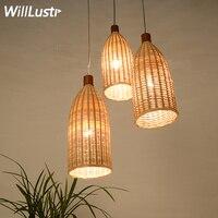Ручной бамбука Деревянные латунь подвесной светильник отель зал ресторан столовая висит освещение подвеска свет ручной вязки плетеная