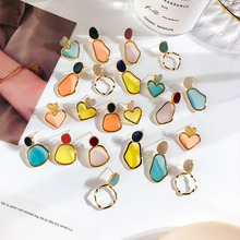 2019 Summer New Jelley Color Transparent Acrylic Irregular Geometric Stud Earrings For Women Fashion Jewelry Trendy Oorbellen