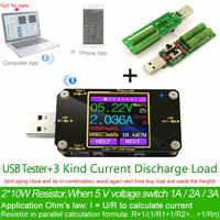 TFT Farbe USB Typ-c tester Drahtlose Bluetooth DC Digital voltmeter strom spannung meter detektor power bank ladegerät anzeige
