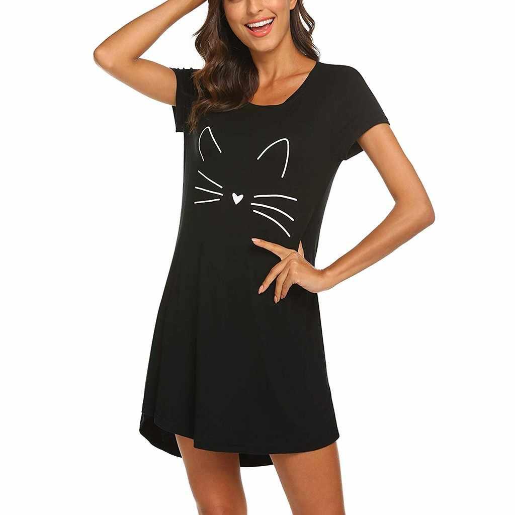 Damen Casual Kurzarm Cartoon Katze Druck Komfortable Gerade Kleid Sommer Anzahl Ist Baumwolle Rundhals Hause Kleider # BL2