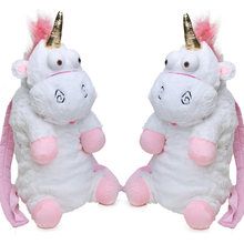 Pink 19.6inch 50cm Unicorn Plush Bag Soft Stuffed Animal Plush Backpacks Toys For Girls Kids Fluffy Juguetes de Peluches bebe(China)