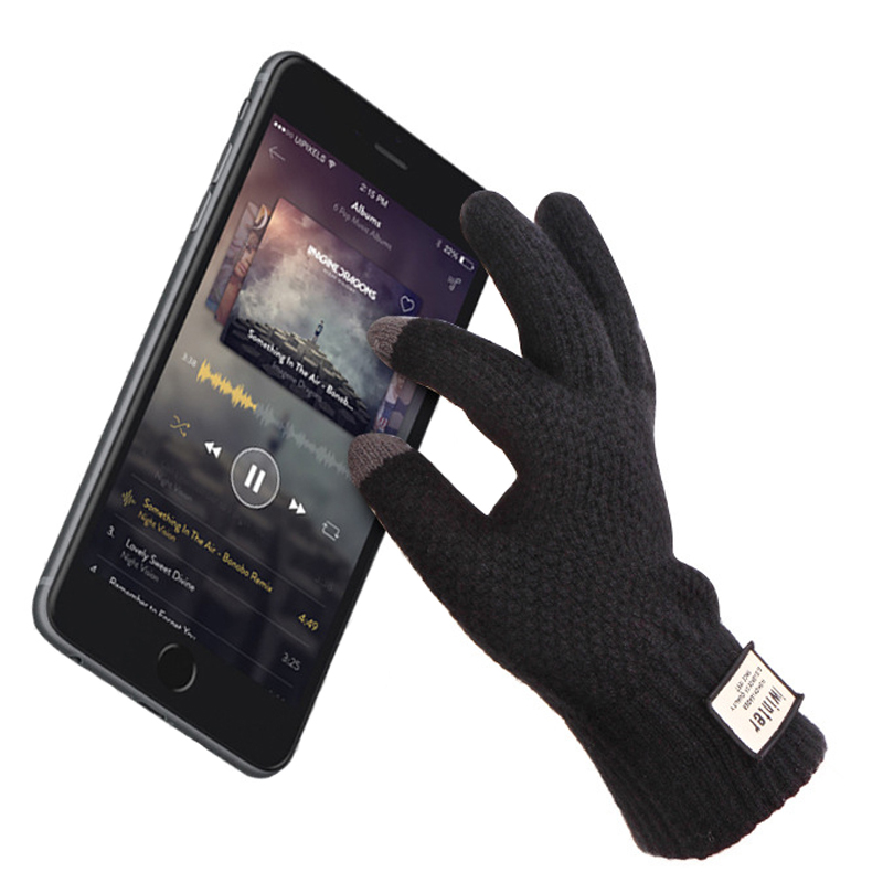 Men Knitted Gloves Touch Screen High Quality Male Thicken Warm Gloves Winter Autumn Men Mitten Men Winter Business Knitted Glove