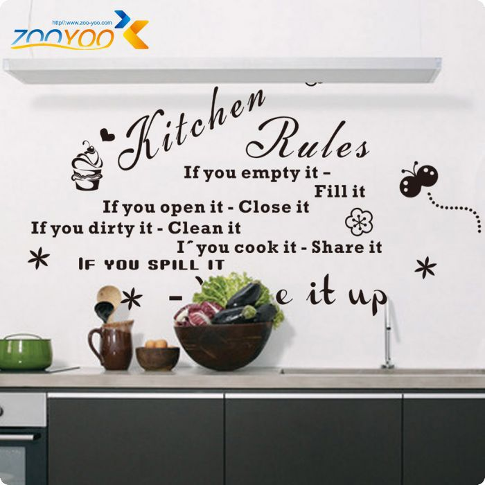 Free Shipping Kitchen Rules Kitchen Quote Black Vinyl Wall Decals Original Design 2016 Wall