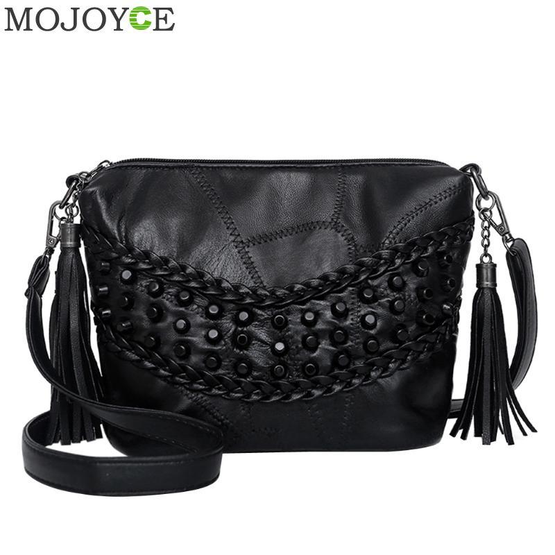 PU Leather Women Crossbody Bags Fashion Rivet Women Shoulder Bag Elegant Tassels Small Messenger Bag Famous Design Lady Handbag
