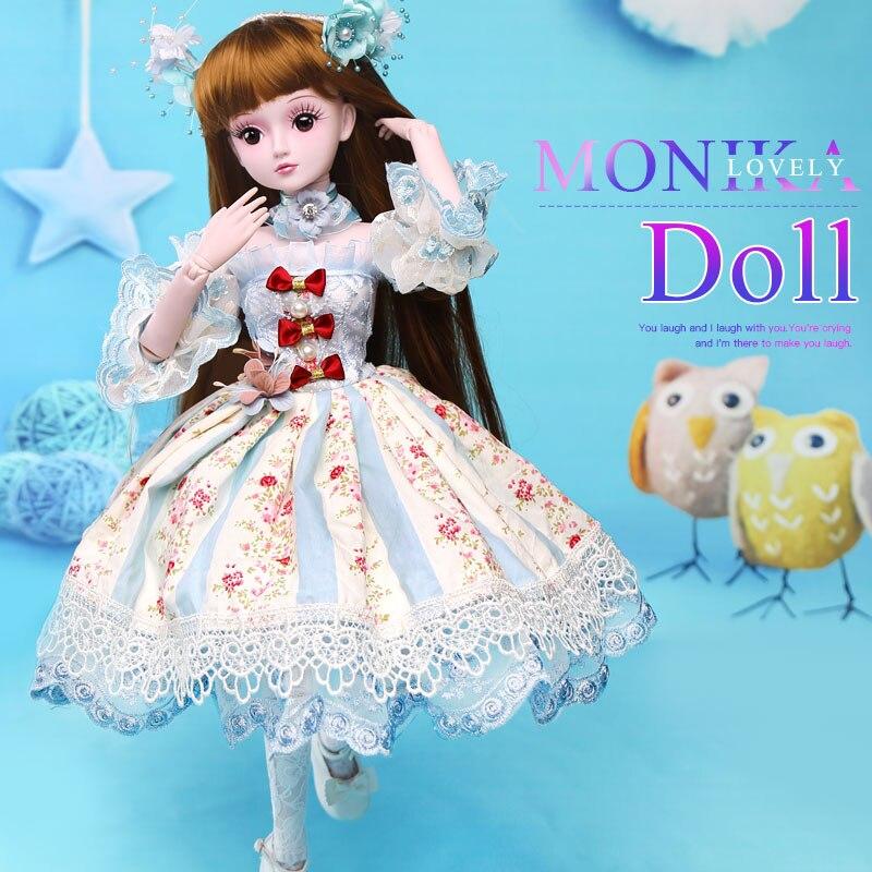 BARBIE 1/3 BJD SD dolls 19 Joints Dolls 60CM Monika reborn baby girls High Quality toys Birthday Children Gifts Evening Dress casio ga 110hc 1a