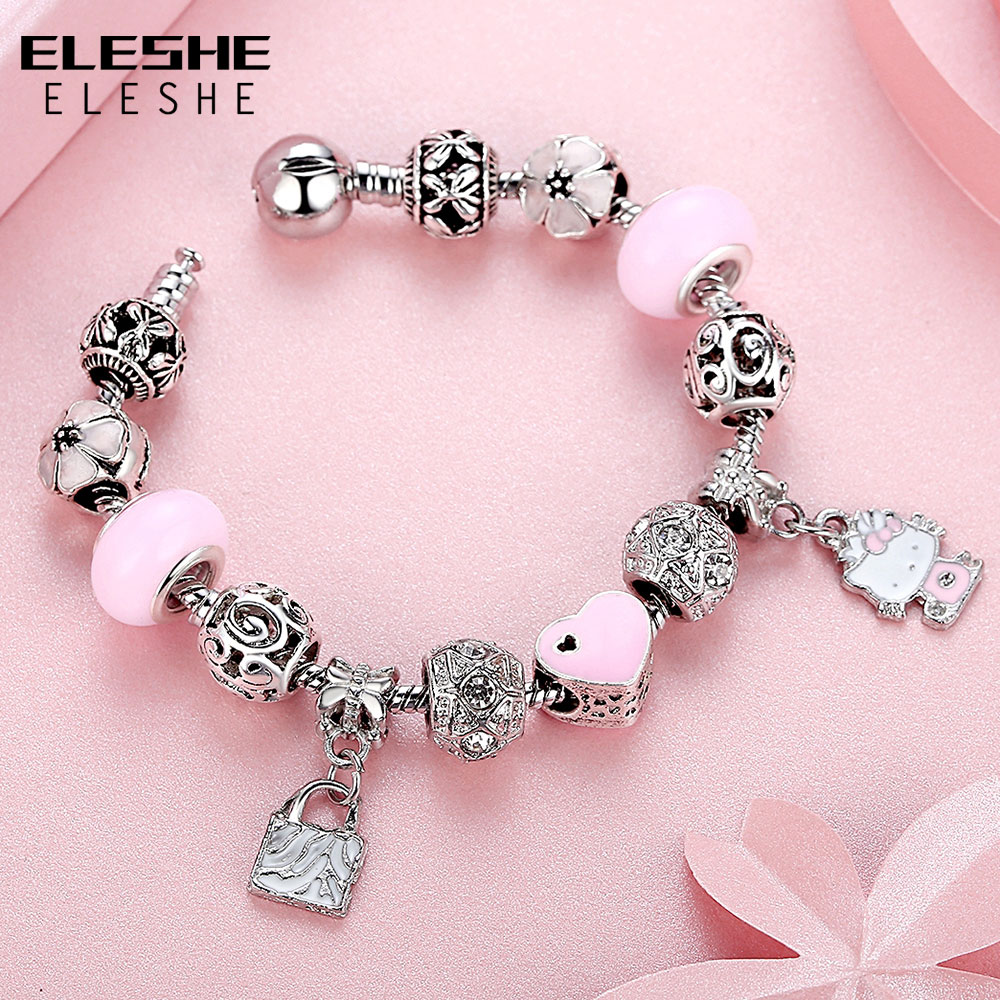 Eleshe Cute Children Cat Kitty Charms Bracelet Bangle For Kids Murano Gl Beads Silver Women Fashion Jewelry In Strand Bracelets From