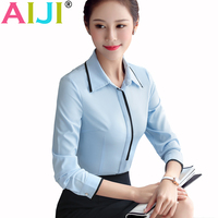 Spring Summer Women Long Sleeve Shirt OL Elegant Bow Tie Formal Chiffon Blouse Office Ladies Plus