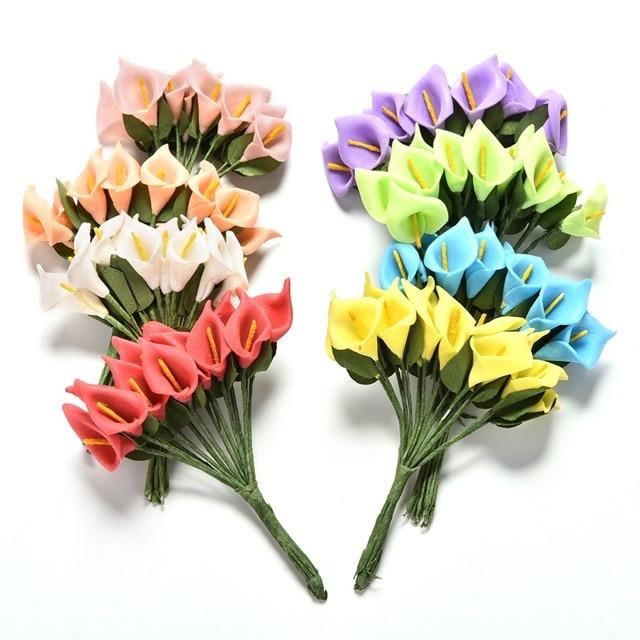 Beautiful 12pcs/set handmade head Multicolor pe foam Calla Lily ...