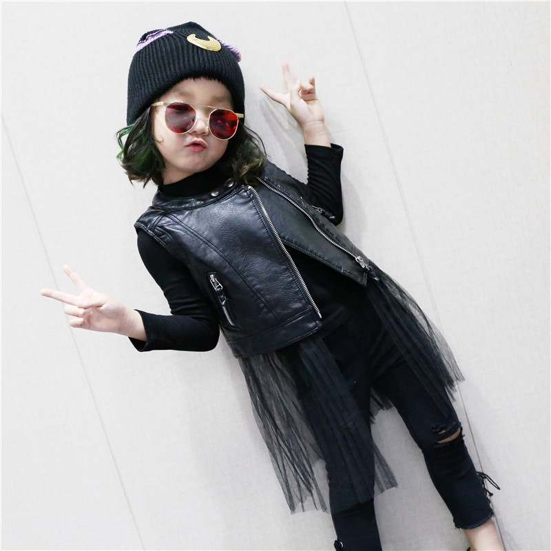 UNINICE Girls Faux Leather Vest 2017 Autumn Fashion Net Yarn Stitching Leather Vest Motorcycle Jackets Kids PU Leather Vest Coat