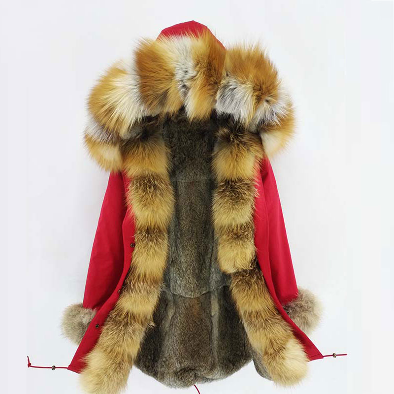2018 Fashion women's real rabbit fur lining winter jacket coat natural fox fur collar hooded long parkas outwear DHL 5-7 Days image