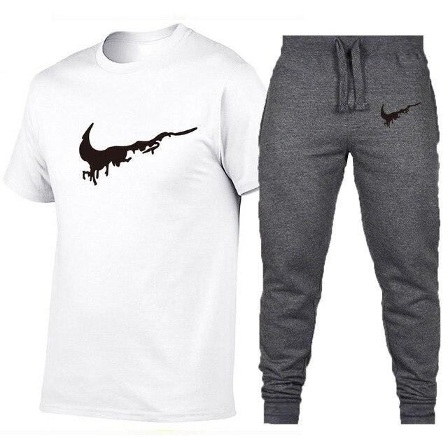 Wholesale 2019 New Black hip hop street extend men T-shirt +Pants Brand clothing summer cotton t shirts men oversize design 1