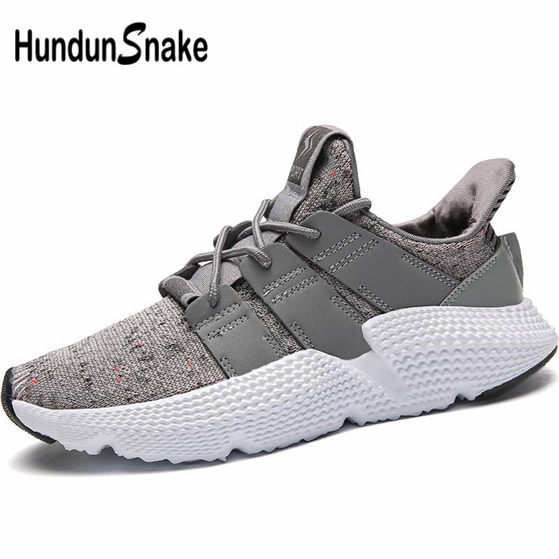 Hundunsnake Mesh Men's Running Shoes Sports Shoes For Male Sneakers Men Summer Chaussure Homme Sport Shoe Tennis Gray Walk B-023