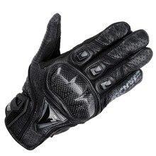 Marca de couro genuíno & fibra de carbono dedo completa moto tela sensível ao toque luvas da motocicleta motocicleta protective engrenagens motocross glove