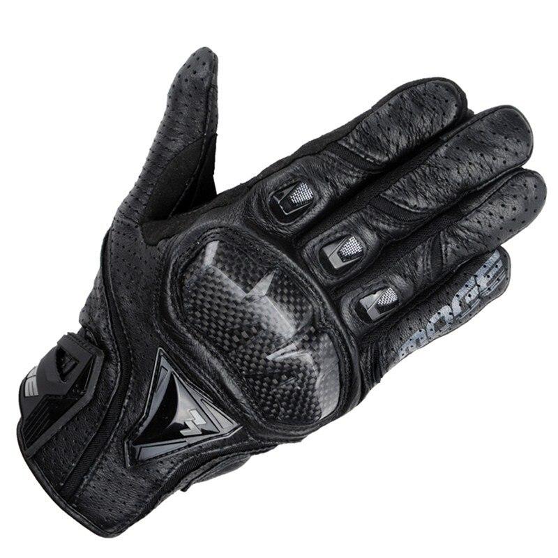 Marque Véritable En Cuir & Fibre De Carbone Full Finger moto Écran Tactile Moto Gants Moto De Protection Gears Motocross Gant