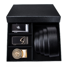 DUBULLE New Lengthen110cm-160cmGenuine Cow Leather Automatic Belt Gift Box Black Belt For Men Luxury Buckle Belts Box Set DB2072 marvis black box gift set