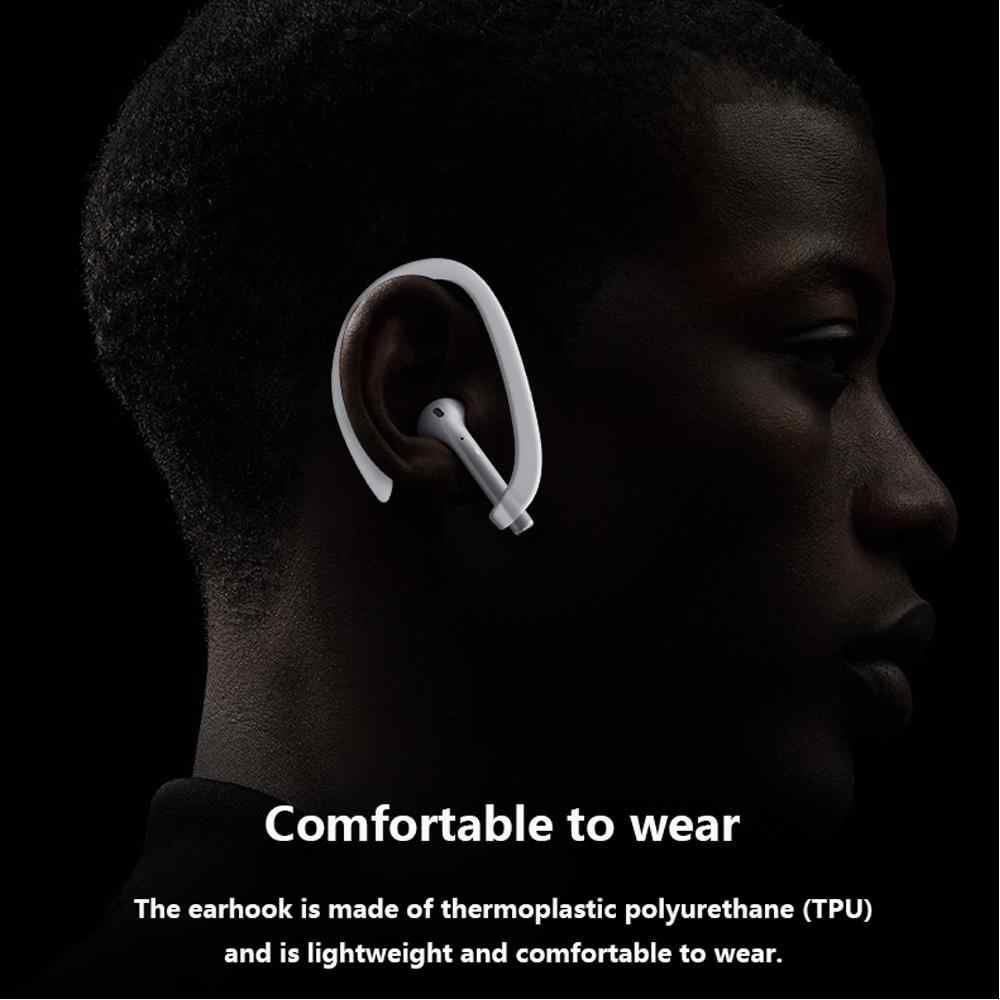 DSstyles 1 para ochronna na uszy, uchwyt na bezpieczne dopasowanie haki dla Airpods Apple słuchawki bezprzewodowe akcesoria silikonowe sportowe Anti-lost
