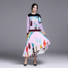 High Quality 2020 Fall Brand New Fashion Knit Top Print Pleated Women's
