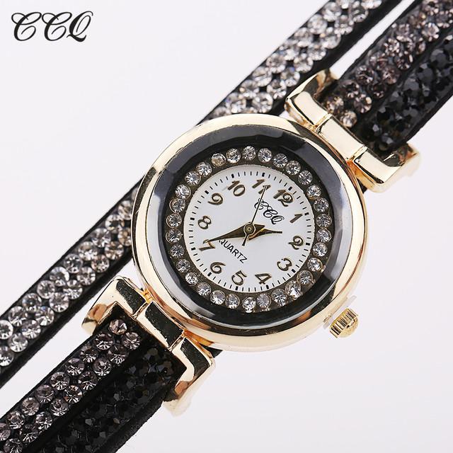 New Fashion Casual Quartz Women Rhinestone Watch Braided Leather Bracelet Watch Gift Relogio Feminino Gift 1739