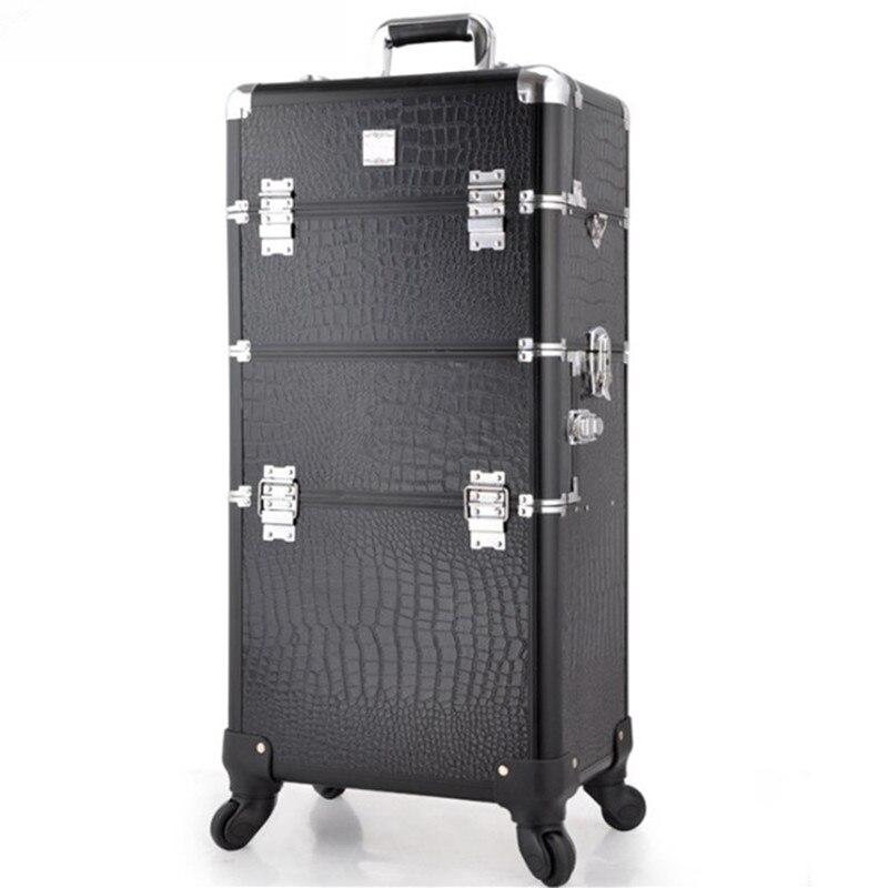 A duplice uso cosmetico professione trolley da viaggio scatola di trucco beauty case professionale di grandi dimensioni Dei Bagagli valigia Borsa di trucco telaio In Alluminio