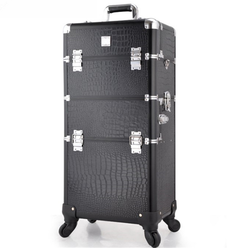Double usage cosmétique profession de chariot de voyage de boîte de maquillage de beauté professionnel grand Bagage valise Sac de maquillage En Aluminium