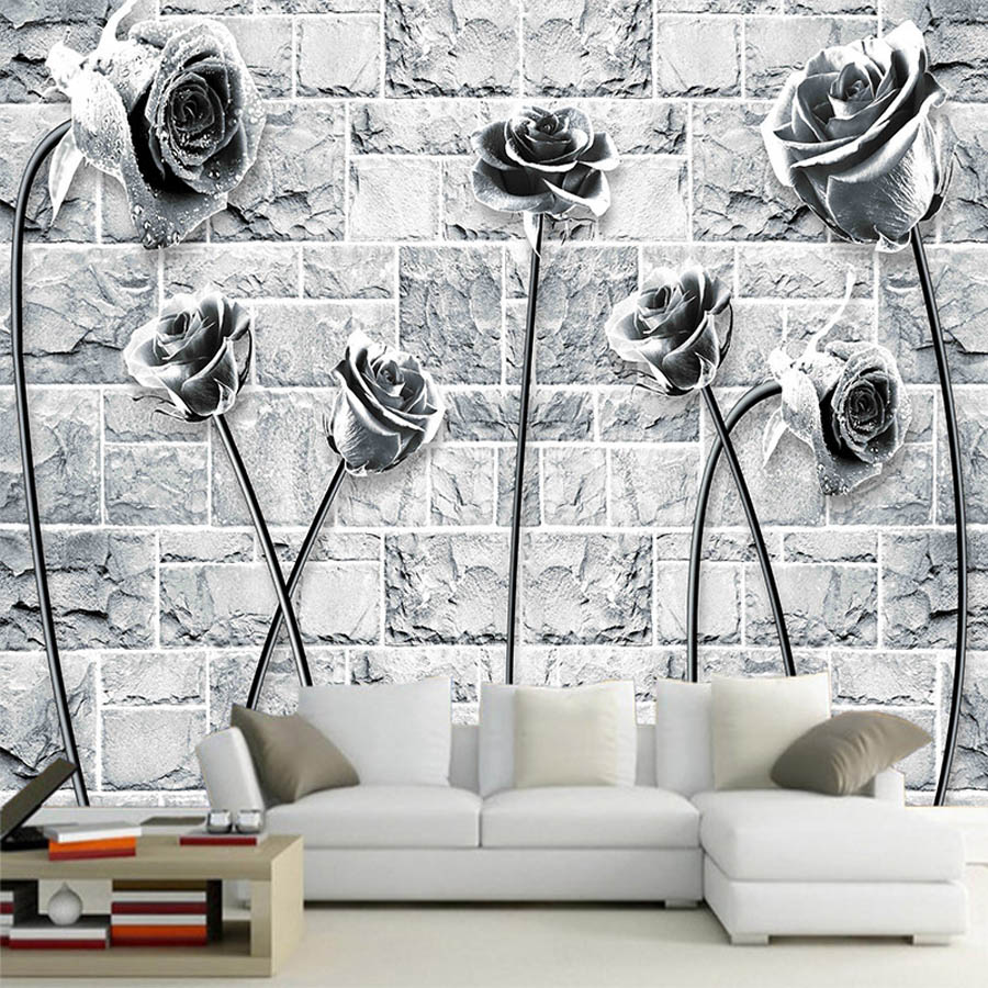 US $10 44 OFF Cool Black White Rose On Brick Wallpaper 3d Room Natural Wallpaper Mural Rolls For 3d Wall Livingroom Bedroom Wall
