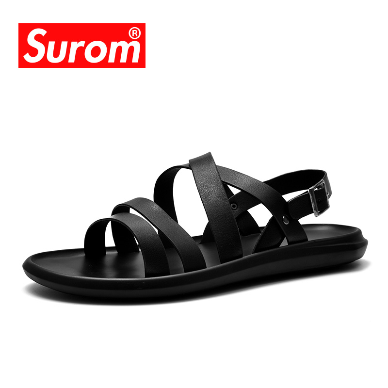 SUROM 2018 Cool Summer Sandals Mens Roman Style Retro Hollow Outdoor Beach Gladiator Men Shoes